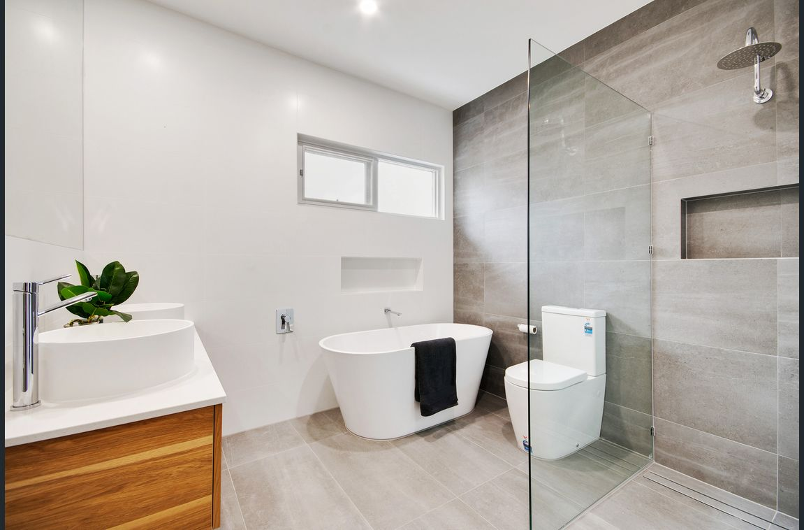 white and grey bathroom renovation